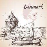 Scène de village du Danemark Images libres de droits