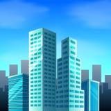 Scène de ville avec des édifices hauts illustration libre de droits