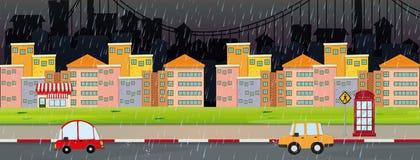 Scène de ville la nuit le jour rainny illustration libre de droits