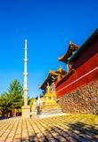 Scène de Wutaishan (bâti Wutai). La voie de base du temple de dessus de Bouddha (tintement de Pusa). Photos libres de droits