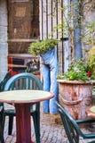 Scène drôle : les blues-jean utilisées comme pot de fleur ont pendu d'un mur photographie stock