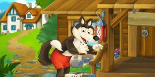 Scène drôle de bande dessinée avec le loup devant la maison en bois de ferme Image stock