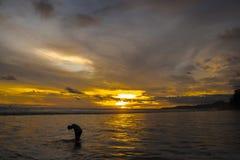 Scène dramatique de silhouette au coucher du soleil d'or photos stock
