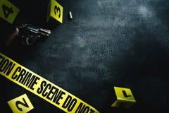 Scène du crime avec l'éclairage dramatique Photos stock