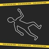 Scène du crime classique avec le corps blanc d'ensemble illustration stock