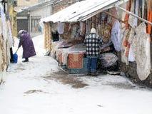 Scène du marché d'hiver Photographie stock