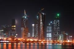 scène du Qatar de nuit de doha de compartiment occidentale Photos libres de droits