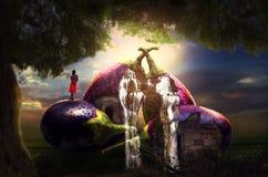 Scène extérieure de concept de terre de brinjal de Mangical de légumes surréalistes d'art-brinjal images libres de droits