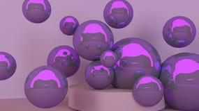 scène faisante le coin réaliste d'abrégé sur le mur 3d avec le podium et les boules, pour des présentations de produit Photos stock