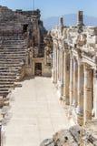 Scène in het amfitheater in oude Hierapolis Royalty-vrije Stock Afbeeldingen