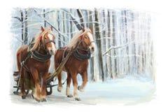 Scène heureuse d'hiver de Noël avec le cadre - scène avec les chevaux courants Photographie stock libre de droits