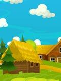 Scène heureuse de bande dessinée avec les maisons en bois - village traditionnel - scène pour l'utilisation différente Images libres de droits
