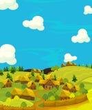 Scène heureuse de bande dessinée avec les maisons en bois - village traditionnel - scène pour l'utilisation différente Image libre de droits