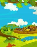 Scène heureuse de bande dessinée avec les maisons en bois - village traditionnel - scène pour l'utilisation différente Photo stock