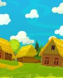 Scène heureuse de bande dessinée avec les maisons en bois - village traditionnel - scène pour l'utilisation différente Photo libre de droits