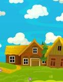 Scène heureuse de bande dessinée avec les maisons en bois - village traditionnel - scène pour l'utilisation différente Photos libres de droits