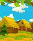 Scène heureuse de bande dessinée avec les maisons en bois - village traditionnel - scène pour l'utilisation différente Photographie stock libre de droits