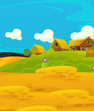 Scène heureuse de bande dessinée avec les maisons en bois - village traditionnel - scène pour l'utilisation différente Photos stock