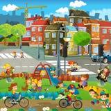 Scène heureuse de bande dessinée d'un terrain de jeu dans la ville - enfants ayant l'amusement jouant - jeu de recherche Images stock