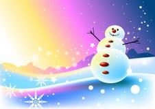 Scène heureuse de bonhomme de neige illustration libre de droits