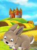 Scène heureuse de ferme de bande dessinée avec le lapin et le château mignons dans le dos illustration libre de droits