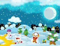 Scène heureuse de Noël de bande dessinée avec les bonhommes de neige heureux ayant l'amusement Photos libres de droits