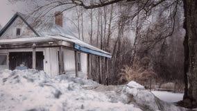 Scène hivernale de Boston dans le Massachusetts Chambre abandonnée Photo stock