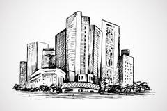 Scène horizontale des immeubles de bureaux Photo libre de droits