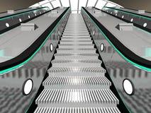 Scène intérieure avec l'escalator Image stock