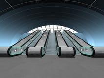 Scène intérieure avec l'escalator Photo stock
