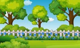 Scène met blauwe bloemen in tuin vector illustratie