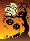 Scène met boom 2 van Halloween Stock Afbeelding
