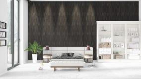 Scène met gloednieuw binnenland met wit rek en modern bed 3D illustratie en het 3D teruggeven Horizontale regeling Royalty-vrije Stock Fotografie