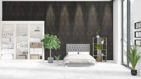 Scène met gloednieuw binnenland met wit rek en modern bed 3D illustratie en het 3D teruggeven Horizontale regeling Royalty-vrije Stock Afbeeldingen