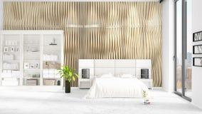 Scène met gloednieuw binnenland met wit rek en modern bed het 3D Teruggeven, 3D Illustratie Horizontale regeling Royalty-vrije Stock Fotografie