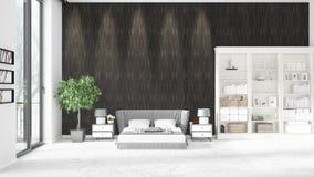 Scène met gloednieuw binnenland met wit rek en modern bed het 3D Teruggeven, 3D Illustratie Horizontale regeling Royalty-vrije Stock Foto's