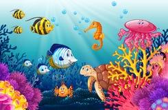 Scène met het leven onderwater vector illustratie