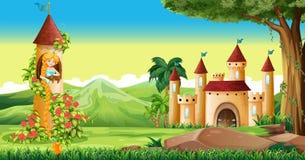 Scène met prinses in de toren stock illustratie