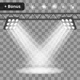 Scène met projectoren, schijnwerpers op een transparante achtergrond bonus Royalty-vrije Stock Foto