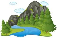 Scène met rivier en berg royalty-vrije illustratie