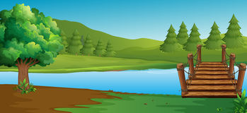 Scène met rivier en pijnboombomen royalty-vrije illustratie
