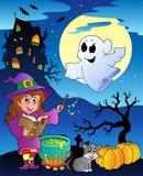 Scène met thema 4 van Halloween royalty-vrije illustratie