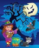 Scène met thema 9 van Halloween royalty-vrije illustratie