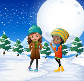 Scène met twee meisjes op het sneeuwgebied stock illustratie