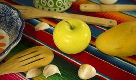 Scène mexicaine de table, fond de préparation de nourriture du Mexique images libres de droits