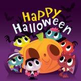 Scène mignonne superbe de monstres et de goules de Halloween illustration de vecteur