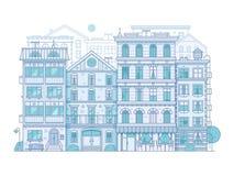 Scène moderne de ville dans la ligne mince conception illustration libre de droits