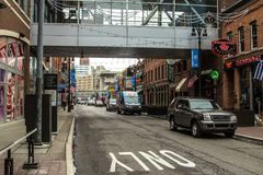 Scène occupée de rue de ville de Detroit Greektown Photographie stock
