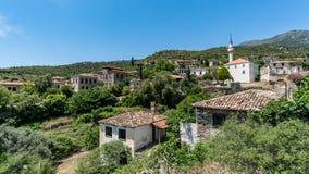 Scène panoramique de village historique de Doganbey dans la ville d'Aydin Photos stock