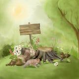 Scène peinte de conte de fées au sujet d'une promenade dans une forêt illustration stock